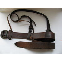 Ремень кожаный офицерский с портупеей ВС СССР и тренчик для ПМ. длина до 118 см.