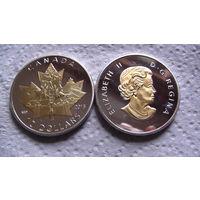 "Канада 10$ 2015г. ""Кленовый лист"" двухцветная. распродажа"