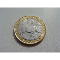 """Зимбабве. 5 долларов 2002 год. КМ#13 """"Носорог"""""""