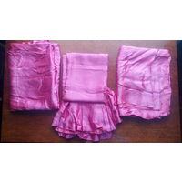 Шторы розовые комплект с портьерой
