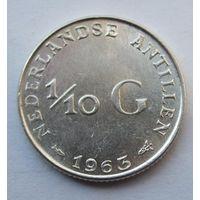 Антилы, 1\10 гульдена, 1963, серебро