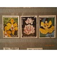 Куба. Цветы, 3 марки