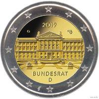 2 евро 2019 Германия G 70 лет Бундесрату UNC из ролла