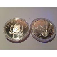 Самоа и Сисифо, 10 долларов 1992 - Футбол/ (серебро, proof)