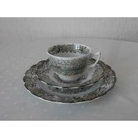 Чайное трио / тройка Heritage фарфор (ручная роспись сцен из жизни Канады 1842) производство Ridgway of Staffordshire England Англия