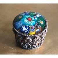 Старая миниатюрная шкатулка флакон футляр для пахучих ароматных веществ или бижутерии посеребоение эмаль ручная работа