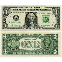 США. 1 доллар (образца 2013 года, A, Массачусетс, UNC)
