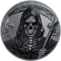 """Экваториальная Гвинея 1000 франков 2018г. Вторая монета серии: """"Тёмная сторона: Мрачный жнец - смерть"""". Монета в капсуле; подарочном футляре; номерной сертификат; коробка. СЕРЕБРО 31,135 гр. (1 oz)."""