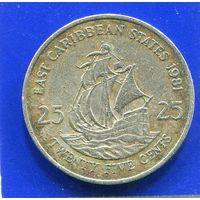 Карибские острова 25 центов 1981