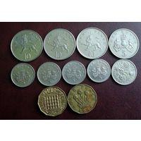 Великобритания. 10 монет 1944-2004 г.
