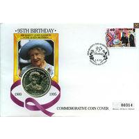 Остров МЭН крона 1995 +конверт+марка 95-е королева мать