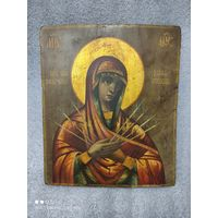 Икона Божией Матери Умягчение Злых Сердец. Семистрельная. 19 Век. Размер!!!