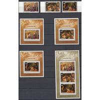 Религиозная живопись. Пенрин. 1985. 3 марки и 4 блока (полный комплект). Michel N 430-432, бл67-70 (36,6 е)
