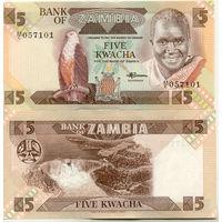 Замбия 5 квача образца 1980-1988 года UNC p25d