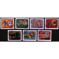 Кошки. Монголия. 1979. Манул, рысь, тигр, леопард, лев, гепард. Полная серия. Гаш.