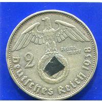 Германия 2 марки 1938 В , серебро