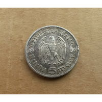 Германия (III Рейх), 5 марок 1936 г., серебро, Гинденбург, Е (Саксония)