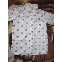 Рубашка детская со слониками.2-4,5 года