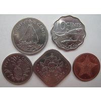 Багамские острова 1-5-10-15-25 центов. Цена за все (u)