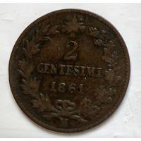 "Италия 2 чентезимо, 1861""M"" - Милан 1-1-28"