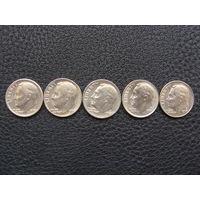 1 Дайм (1965 - 1996) г. Набор из 5 монет США.