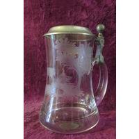 Кружка бокал  Лось или олень стекло олово 0,5 л 16 см   8ж