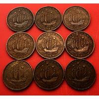 Великобритания, 1/2 пенни 1937, 1940, 1942-1945, 1948, 1951, 1952 г. г. - 9 штук