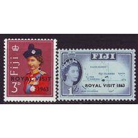 1963 Фиджи 168-169 Надпечатка  - Королевский визит