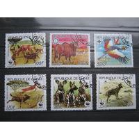 Марки - фауна, Гвинея, птицы, гиены, охота