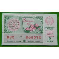Лотерейный билет РСФСР 8 Марта Выпуск 2 (11.03.1988)