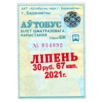 Проездной Барановичи июль 2021