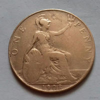 1 пенни, Великобритания 1908 г., Эдуард VII