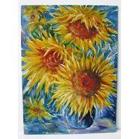 Цветы солнца. 24х18 см, масло,холст на картоне.
