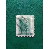 США. Почтовая марка с изображением президента Эндрю Джексона.