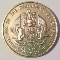 Сент-Люсия 4 доллара 1970, медно-никелевая, 38,5 мм, Краузе - KM# 11