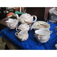 Красивый чайный сервиз с позолотой(15 предметов).