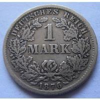 Германия 1 марка 1876 отметка монетного двора F - Штутгарт