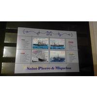 Транспорт, парусники, корабли, флот, птицы, марки, Сен-Пьер и Микелон, 1999, блок