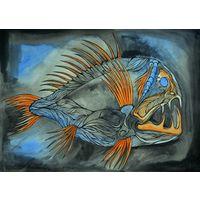Авторская картина акварелью. Глубоководная рыба. Размер А3