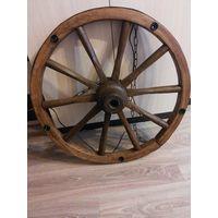 Люстра из старинного колеса для брички на 5 лампочек