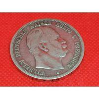 Монета 5 марок 1876 года. Германия. Пруссия. Серебро.