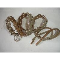 Ремень кожаный СССР плетение с металлическими кольцами длинна 85 см, ширина 2 см