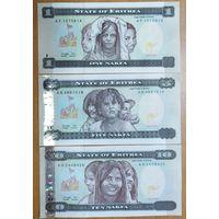 Набор банкнот Эритреи - 1,5,10 накфа 1997 года - UNC