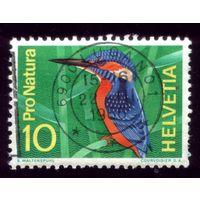 1 марка 1966 год Швейцария Птичка 833