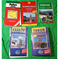Карта автодорог. Польша, Варшава, Торунь, Краков, Закопане.