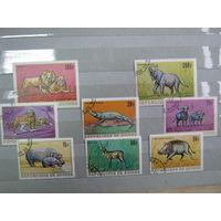 Марки - фауна, Гвинея, лев, слон, крокодил, кабан, бегемот, буйвол, антилопа, леопард