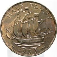 Великобритания 1/2 пенни 1953 коронационный (385)