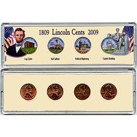 США 2009 фирмен набор ЦВЕТНЫХ центов Lincoln в пластике