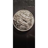 2,8 Экю, 1993г.Гибралтар(Великобритания,Евро-тун ель  Великобритания-Франция,поезд выходит из туннеля).