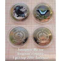 Индонезия Западные Малые Зондские острова 1 доллар 2016 Бабочки в капсулах